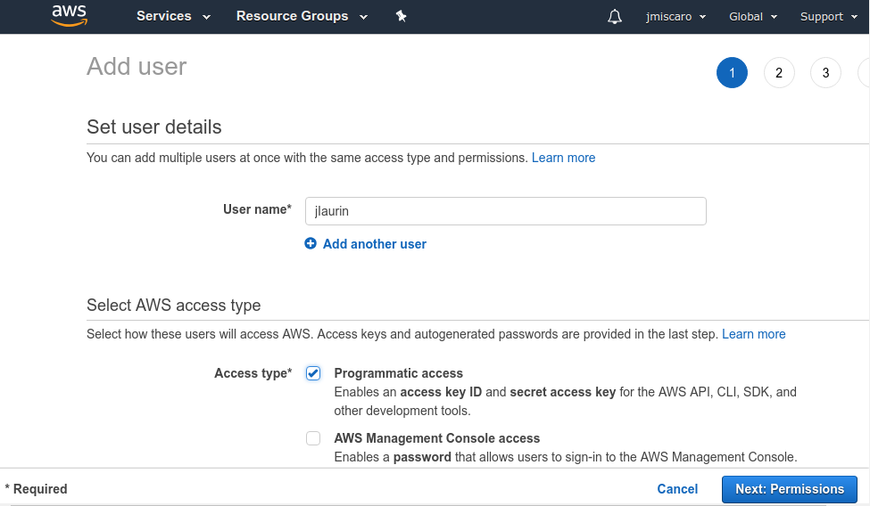 AWS IAM set user details